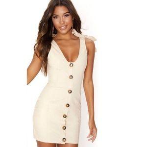 PrettyLittleThing Flax Button Tie Shoulder Dress 0